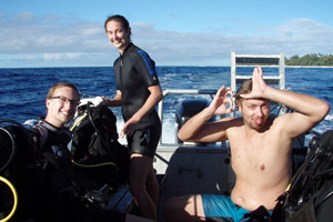 Happy divers on board